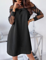 Vestido casual negro con parche de malla y lunares