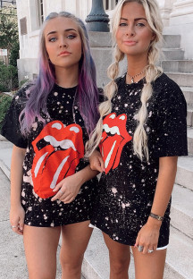 Summer Tie Dye Tongue Print O-Neck Regular Shirt