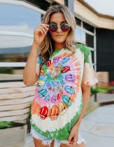 Обычная рубашка с круглым вырезом Summer Tie Dye Tongue с принтом