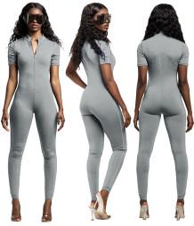 Summer Solid Color Jumpsuit mit Reißverschluss vorne