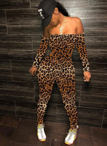 Party Print Long Sleeve Strapless Bodycon Jumpsuit