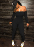 Party Black Long Sleeve Strapless Bodycon Jumpsuit