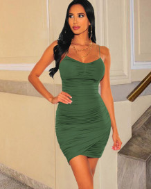 Party Solid Color Ruched Strap Wrap Mini Dress