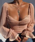 Top punteado de novia vintage con mangas abullonadas
