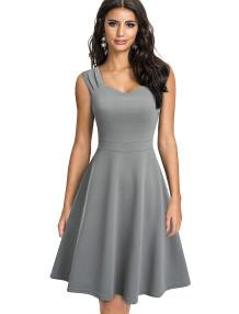 Düz Renk Kolsuz Retro Kalem Elbise