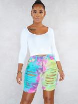 Pantalones cortos de mezclilla de cintura alta con efecto tie dye de verano