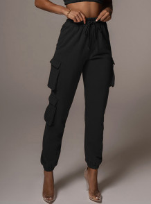 Calça de moletom casual casual com cordão com cordão e bolsos
