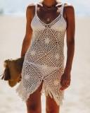 Summer Beach Crochet Tassels Strap Cover Up Vestido