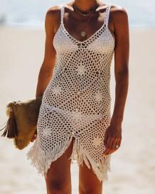 Summer Beach Crochet Nappe Strap Cover Up Dress