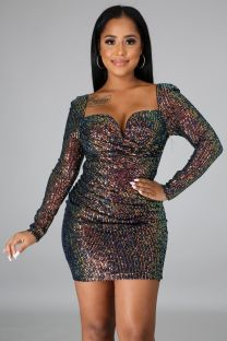 Party Sequins Sweetheart Mini Dress with Full Sleeves