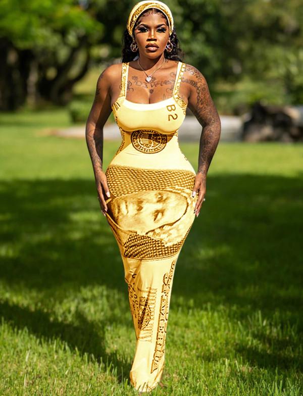 Party Print Dollar Sexy Strap Vestido largo con curvas