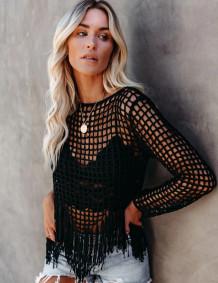 Summer Beach Crochet Tassels Cover Up Tops