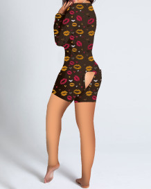 Cute Print Long Sleeve Lounge Rompers with Patch Butt