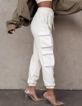 Pantalon de survêtement décontracté de couleur unie avec poches