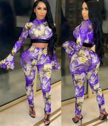 Colorful Print Sexy 2PC Bodycon Crop Set with Wide Sleeve Cuffs
