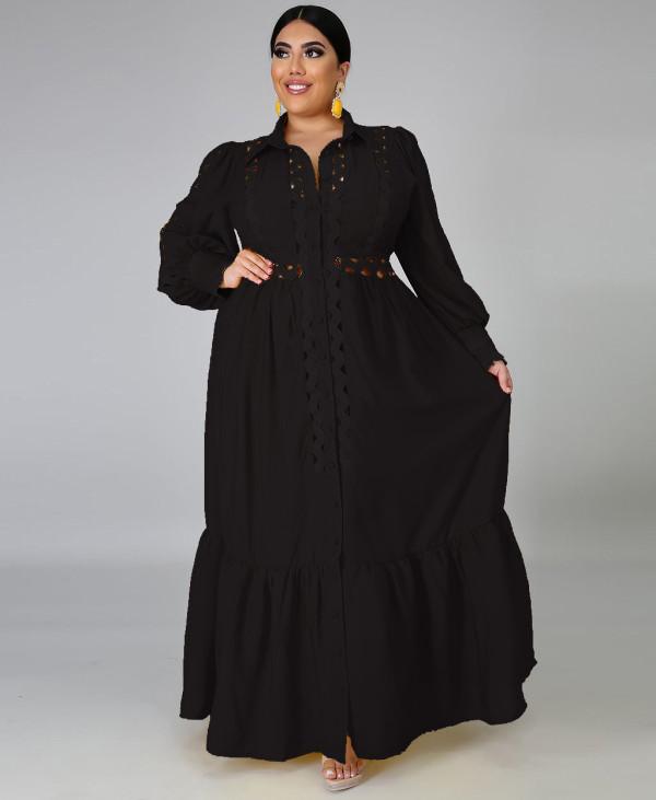 Vestido largo negro ahuecado de talla grande con mangas completas