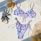 Traje de baño de tanga con cuerdas de mariposa púrpura de 2 piezas