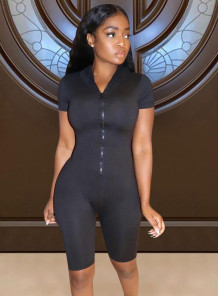 Sports Fitness Black Short Sleeve Front Zipped Rompers