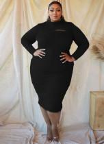 Vestido midi de felpa de manga larga de talla grande