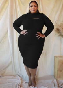 Plus-size pluche midi-jurk met lange mouwen