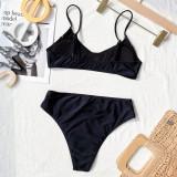Traje de baño con correa de cintura media simple negro de 2 piezas