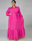 Vestido largo rosa ahuecado de talla grande con mangas completas