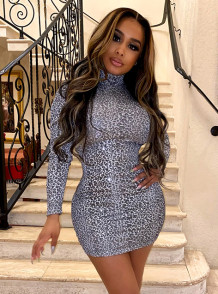 Party Sexy Leopard Print Long Sleeve Bodycon Dress