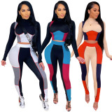 2PC Contrast Color Sexy Bodycon Crop Top and Pants Matching Set