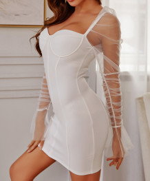 Party White Sweetheart Mini Dress with Mesh Sleeves