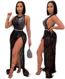 Fiesta sexy de lujo sin mangas negro con cuentas vestido largo con flecos