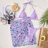Conjunto de 3 piezas de traje de baño de mariposa morada
