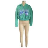 Top corto verde con capucha y cremallera Street Style Print