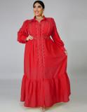 Vestido largo rojo ahuecado de talla grande con mangas completas