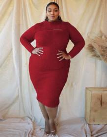 Plus Size Long Sleeve Plush Midi Dress