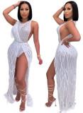 Vestido largo con flecos blancos sin mangas de lujo sexy de fiesta