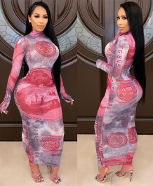Money Print Sexy Long Party Dress with Full Sleeves