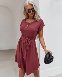 Vestido de camisa larga de manga corta casual de color sólido de verano