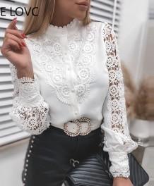 Elegant Lace Patch Long Sleeve Blouse