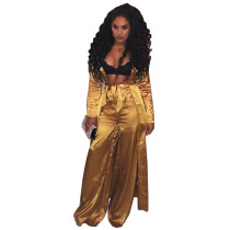 Pantalon en satin sexy taille haute et manteau long assorti