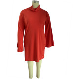 Vestido de fiesta bodycon rojo de talla grande con mangas anchas