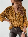 Elegante blusa suelta de manga larga con estampado de leopardo