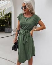 Sommer einfarbiges lässiges kurzärmliges langes Hemdkleid