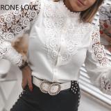 Elegante blusa de manga larga con parche de encaje