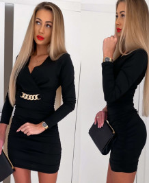 Elegant Black Wrapped Long Sleeve Mini Dress