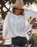 Blusa suelta de manga larga de color sólido de primavera