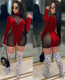 Sexy Long Sleeve Mesh Patch Bodycon Rompers