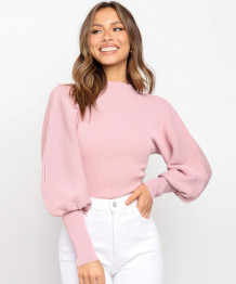 Suéter con mangas abullonadas de primavera, top corto