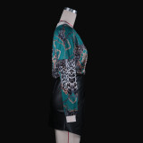 Camisa holgada con cuello en V y estampado retro de manga larga