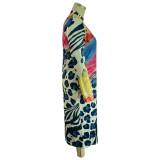 Vestido ajustado de manga larga con estampado de leopardo y talla grande