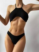 Zweiteilige schwarze Neckholder Sexy Badebekleidung